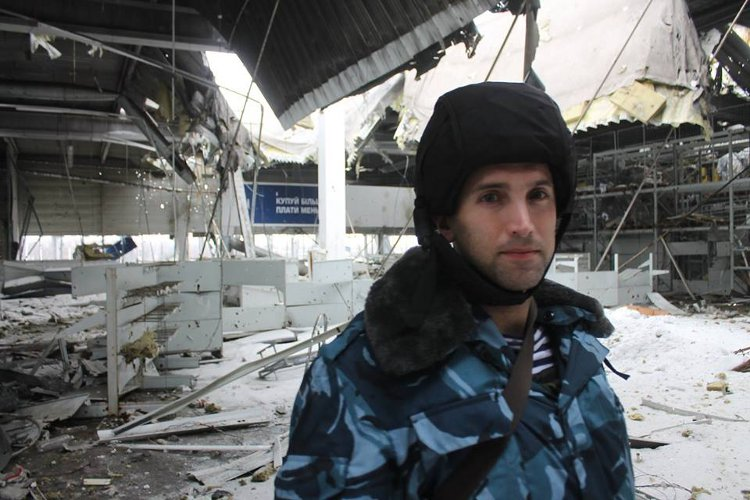 Correspondent Graham Phillips virtually alone at Donetsk Airport Sunday - Courtesy Graham's Facebook