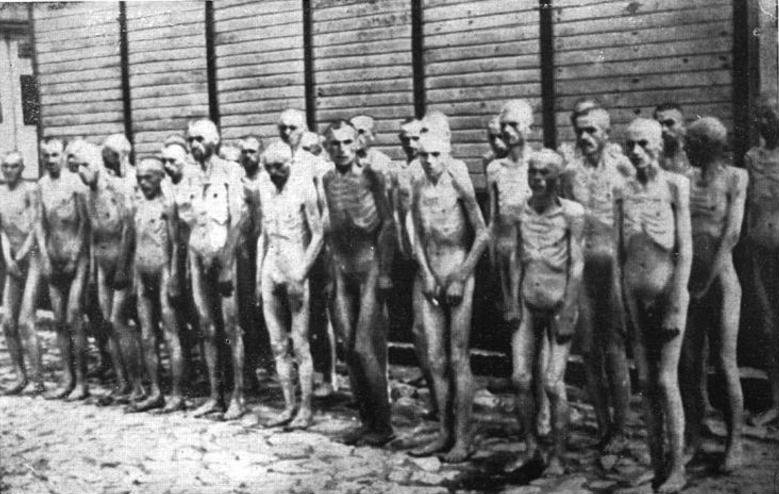 Naked Soviet POWs in Mauthausen concentration camp.