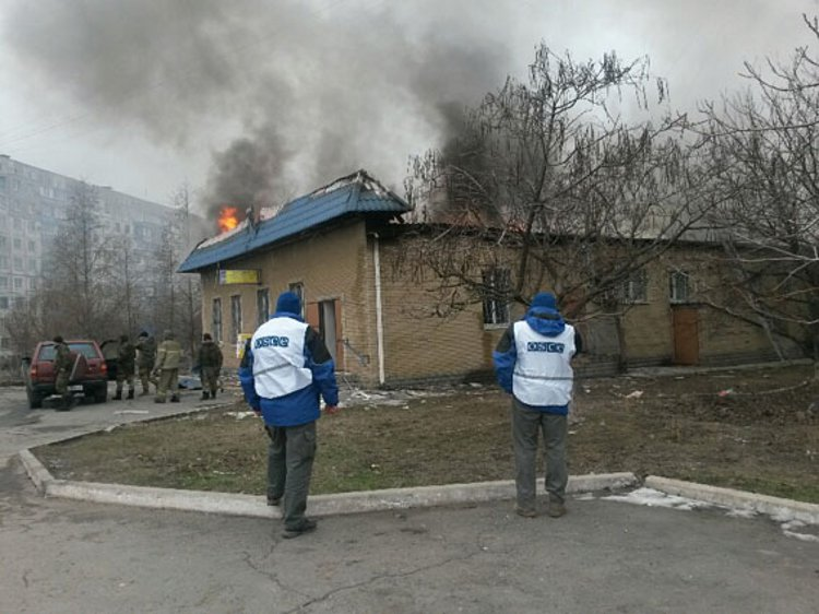 OSCE observers in Mariupol before the smoke clears - Courtesy Ministry of Foreign Affairs Ukraine