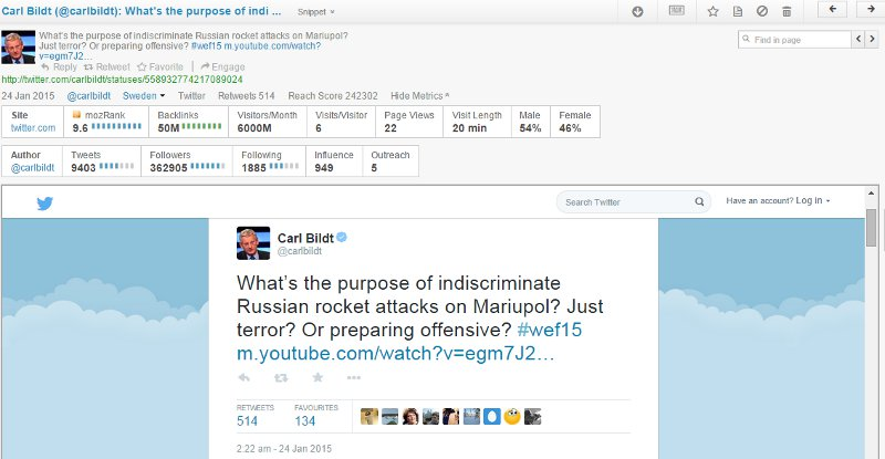 Brandwatch profile of Carl Bildt