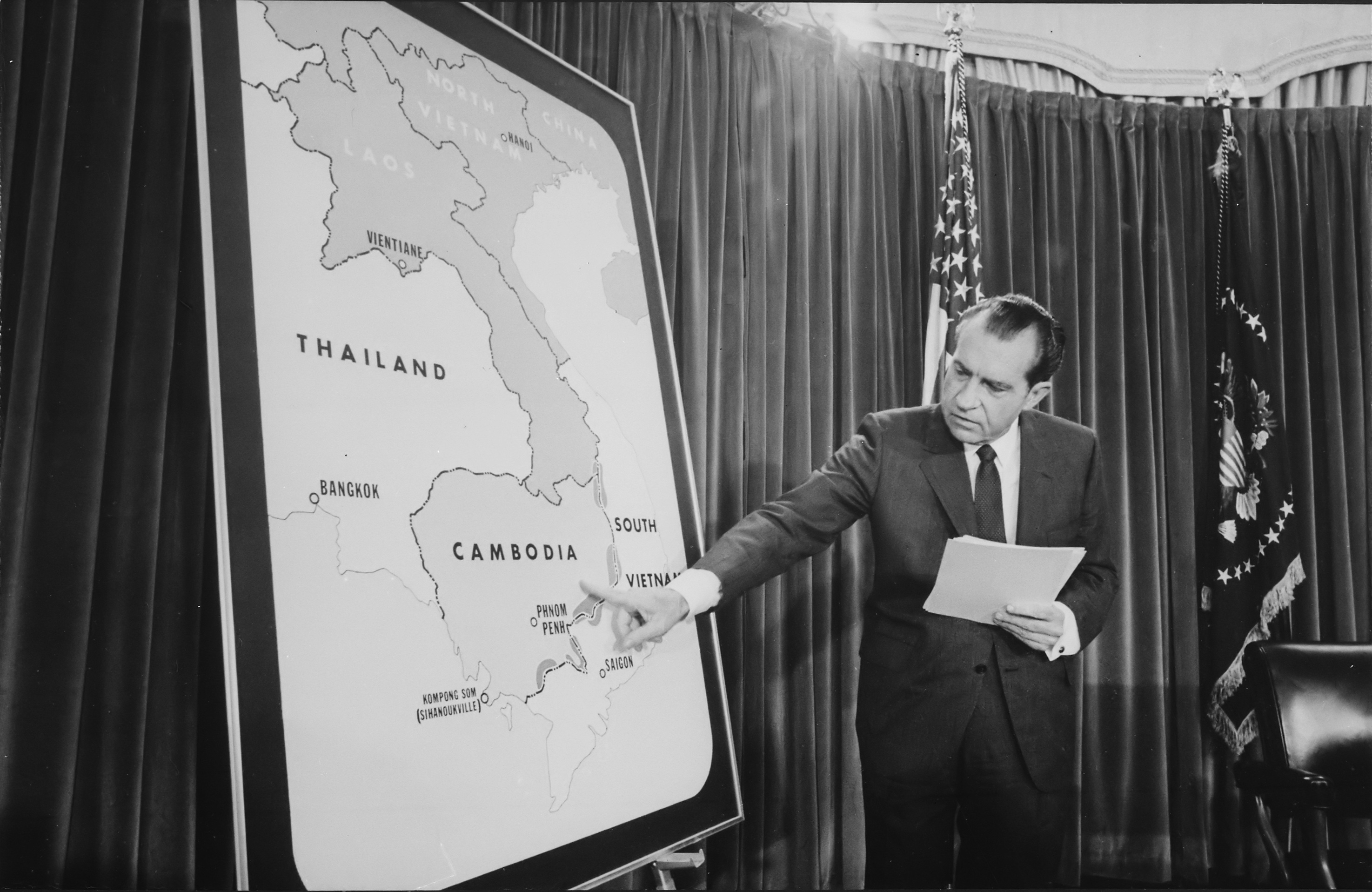 April 1970, President Nixon tells the American people about the necessity for the Cambodia Campaign to defeat the Viet Cong