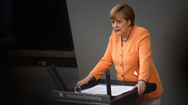 Chancellor Angela Merkel gives Germans the pep talk July 1 (Tobias Koch via CDU website)