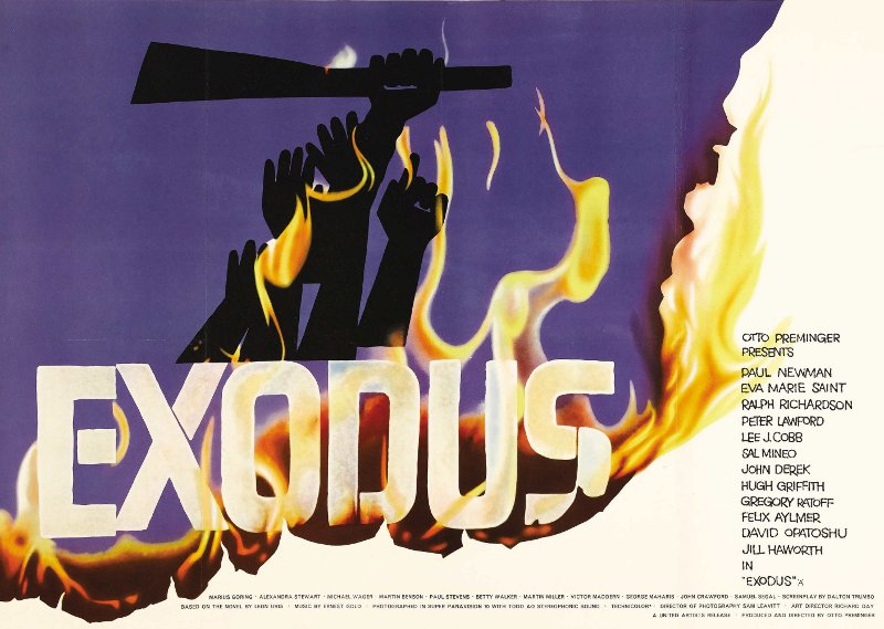 The 1960 Zionist epic Exodus, starring Paul Newman and an all star case, wa enormously influential in stimulating Zionism and support for Israel in the United States.