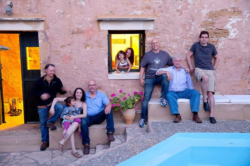 adoreable Paul and Mihaela, Mike, Johnny, and our pal Thomas Steffens at Metochi Villas in the Crete countryside