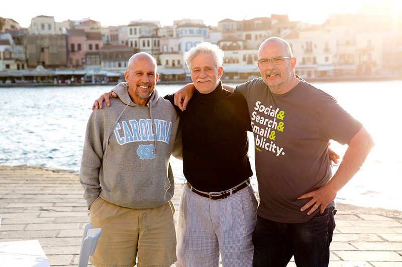 Mike, JC, and me, Jay behind the camera, on the harbor in Chania Greece 2014