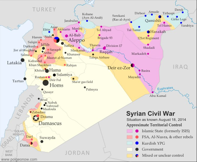 Map from 2014 showing the dynamics of Al Nusra and ISIL terrorist positions inside Syria.