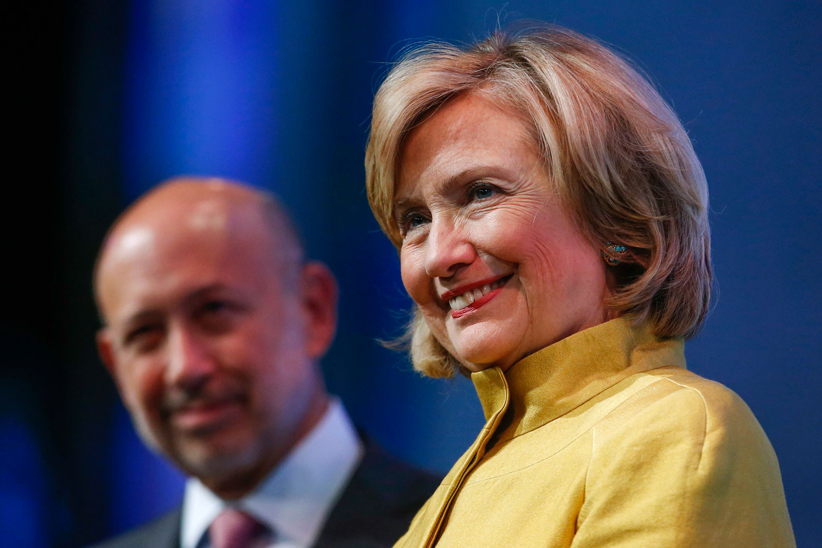 Hillary Clinton with Goldman Sachs CEO Lloyd Blankfein at the Clinton Global Initiative