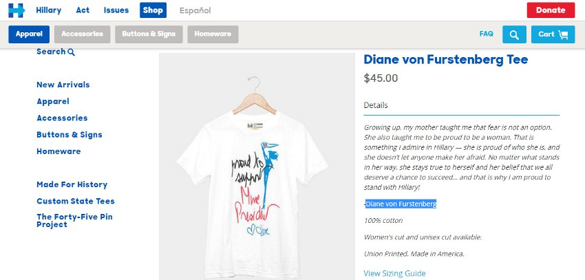 The official Diane von Furstenberg Tee to help Hillary help you