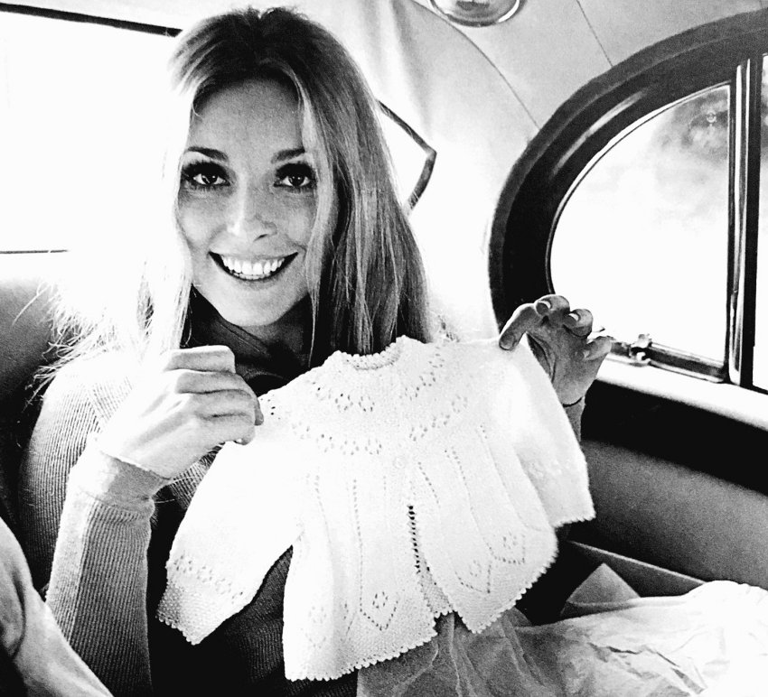 "Actress Sharon Tate showing off baby clothes just days before being brutally murdered in a ""safe"" California."