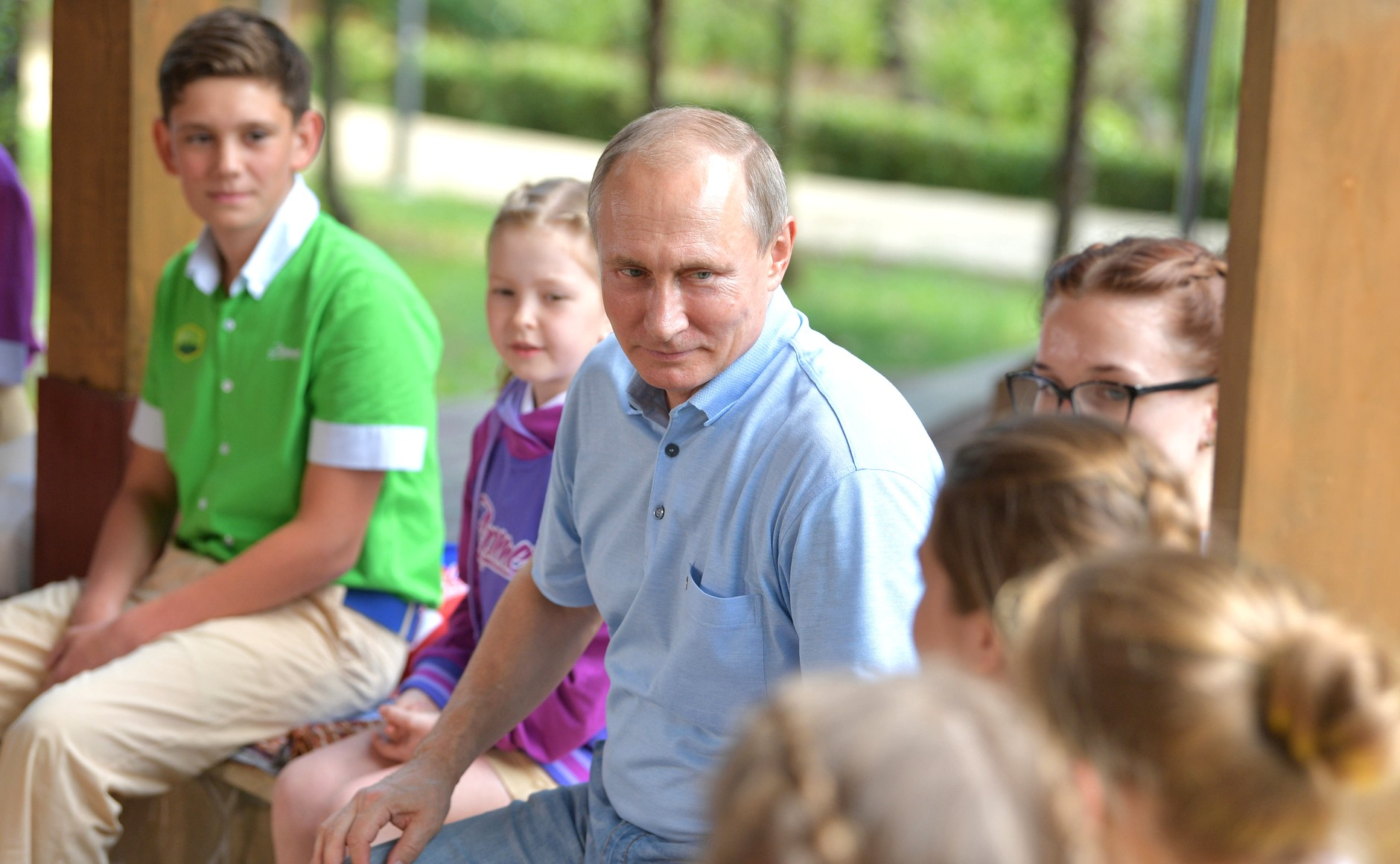 Putin with kids